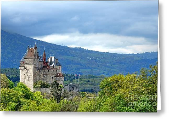 Chateau De Menthon Castle Greeting Card by Olivier Le Queinec
