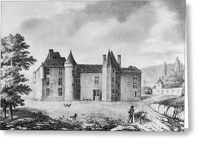Chateau Drawings Greeting Cards - Chateau de Montaigne Greeting Card by French School