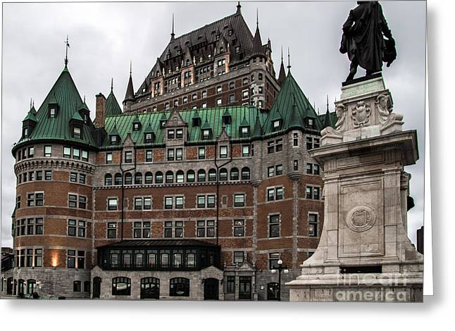 Chateau Pyrography Greeting Cards - Chateau Frontenac Quebec Greeting Card by Olga Photography
