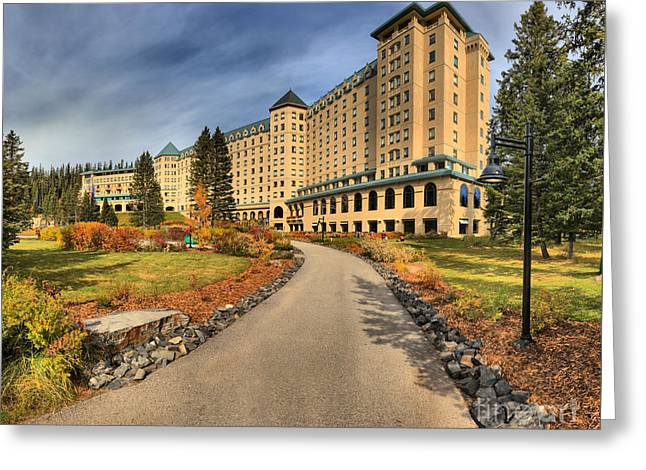 Chateau Greeting Cards - Chateau Lake Louise Greeting Card by Adam Jewell