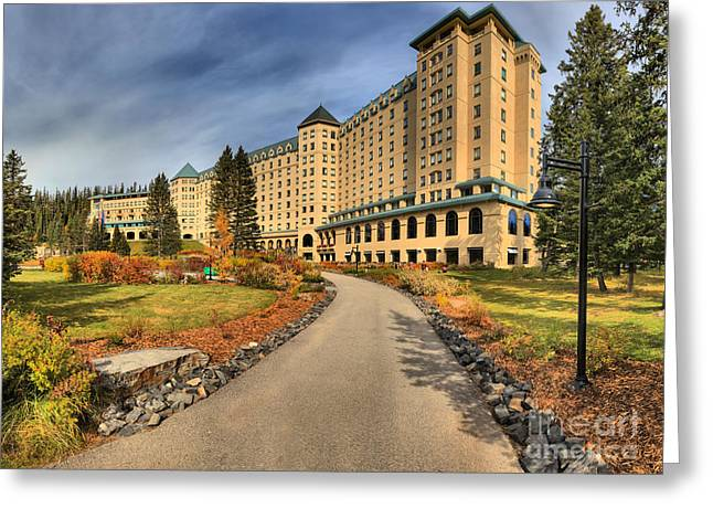 Chateau Greeting Cards - Chateau Lake Louise Alberta Canada Greeting Card by Adam Jewell