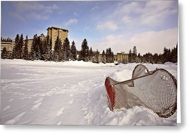 Hockey Net Greeting Cards - Chateau Lake Louise in winter in Alberta Canada Greeting Card by Mark Duffy