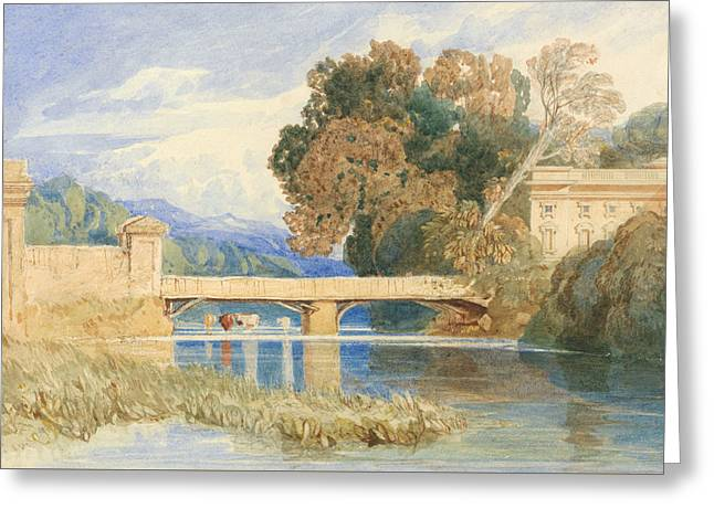 Chateau Navarre, Near Evreux, Normandy Greeting Card by John Sell Cotman