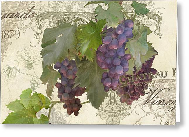 Chateau Pinot Noir Vineyards - Vintage Style Greeting Card by Audrey Jeanne Roberts