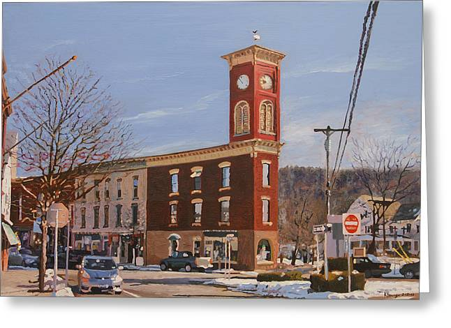 Chatham Paintings Greeting Cards - Chatham Clock Tower Greeting Card by Kenneth Young