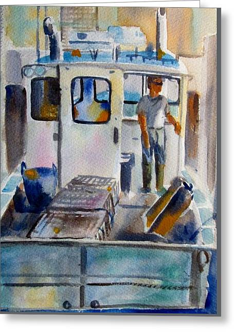 Seacape Greeting Cards - Chatham Fisherman Greeting Card by Linda Emerson