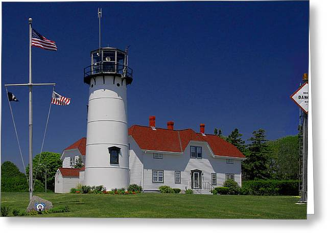 Chatham Greeting Cards - Chatham Lighthouse and Coast Guard Station Greeting Card by Phil Jensen