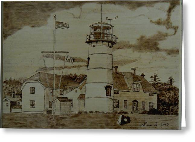 Ma Pyrography Greeting Cards - Chatham Lighthouse Greeting Card by H Leslie Simmons