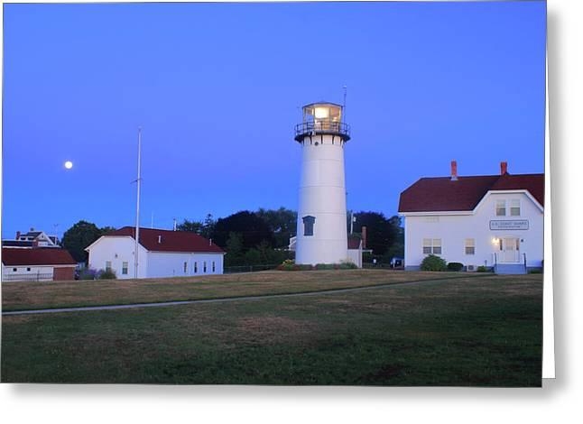 Chatham Lighthouse Moonset Greeting Card by John Burk