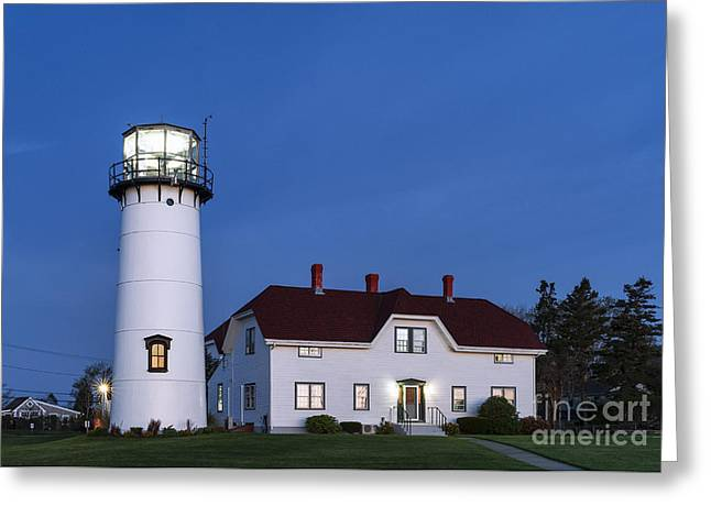Chatham Lighthouse Night Greeting Card by John Greim