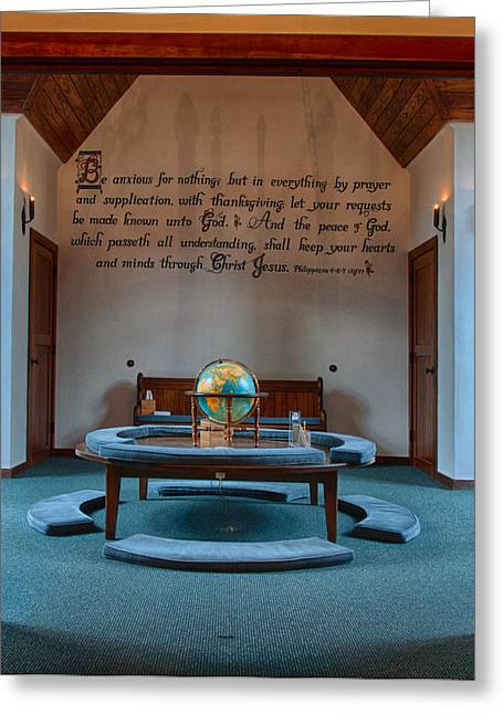 """prayer Room"" Greeting Cards - Chatlos Memorial Chapel Prayer Loft Greeting Card by Gene Sherrill"