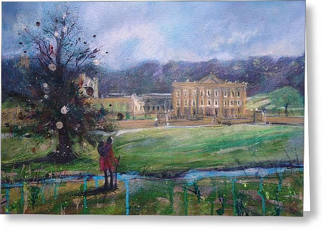 Duchess Mixed Media Greeting Cards - Chatsworth House Ramble Greeting Card by Ruth Gray