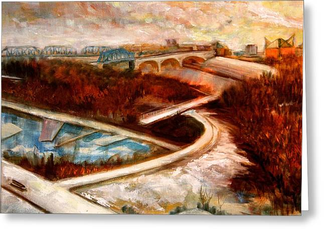 Tennessee River Paintings Greeting Cards - Chattanooga with Snow Greeting Card by Julie Galante