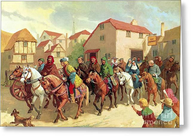 Syde Greeting Cards - Chaucers Pilgrims Greeting Card by van der Syde