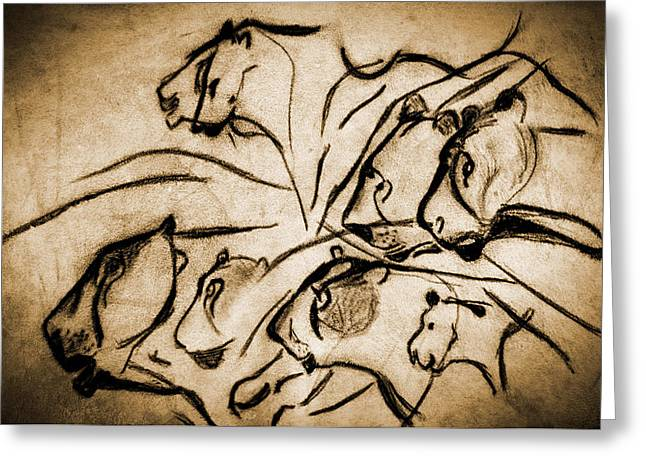 Chauvet Cave Lions Burned Leather Greeting Card by Weston Westmoreland