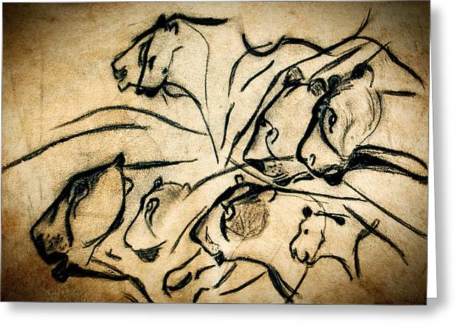 Chauvet Cave Lions Greeting Card by Weston Westmoreland