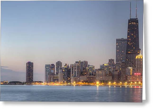 North Shore Greeting Cards - Chciago Skyline at Dusk Greeting Card by Twenty Two North Photography