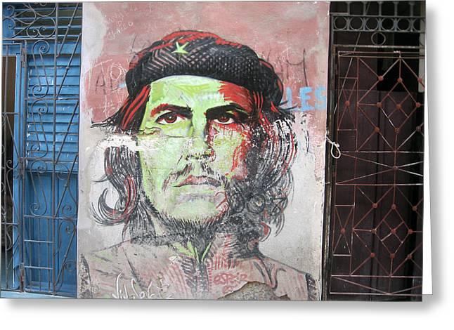 Grafity Greeting Cards - Che Guevara on the wall Havana Greeting Card by Maksym Tretyak