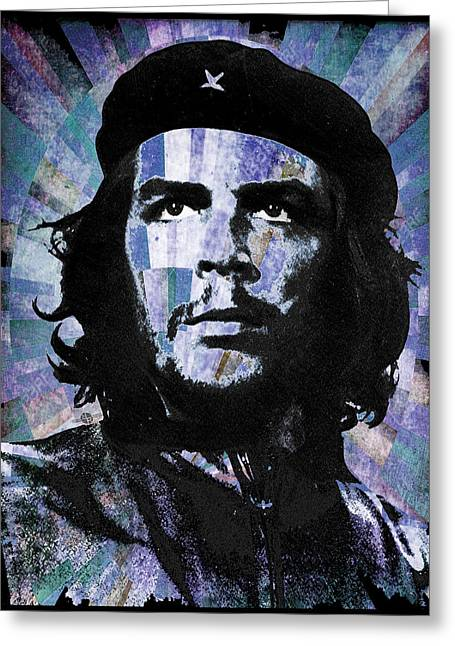 Che Guevara Revolution Blue Greeting Card by Tony Rubino