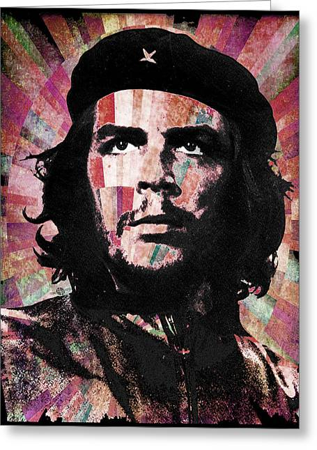 Counterculture Greeting Cards - Che Guevara Revolution Red Greeting Card by Tony Rubino
