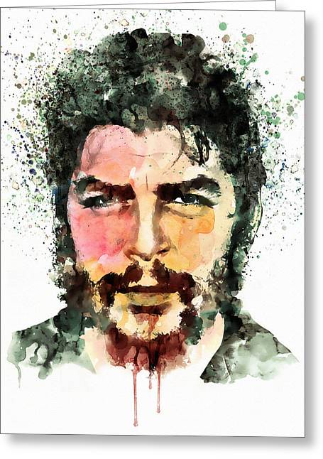 Fine Mixed Media Greeting Cards - Che Guevara watercolor Greeting Card by Marian Voicu