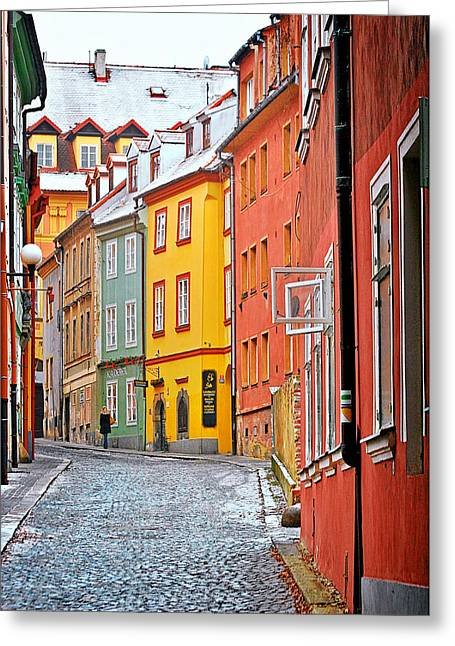 Winter Travel Greeting Cards - Cheb an old-world-charm Czech Republic town Greeting Card by Christine Till