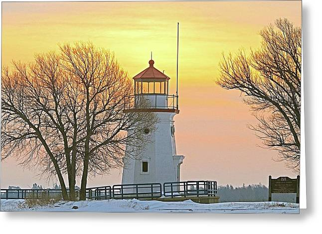 Peychich Greeting Cards - Cheboygan Harbor Light 2 Greeting Card by Michael Peychich