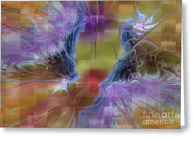 Framed Fractal Prints Greeting Cards - Checker Square Design Greeting Card by Deborah Benoit