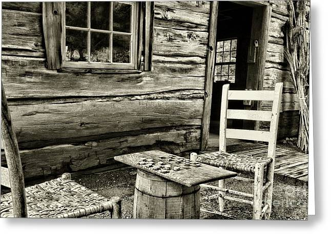 Checkers Down At The Old Place, In Black And White Greeting Card by Paul Ward
