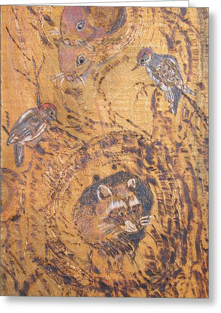 Woodburnings Pyrography Greeting Cards - Checking Out the New Neighbors Greeting Card by Margaret G Calenda