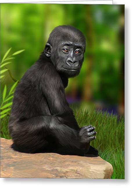 Ape Digital Greeting Cards - Cheeky Boy Greeting Card by Julie L Hoddinott