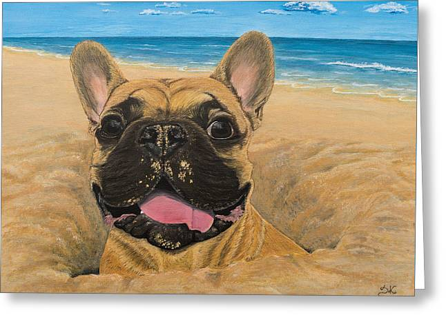 On The Beach Greeting Cards - Cheeky Chappy Greeting Card by Daria Krajewska