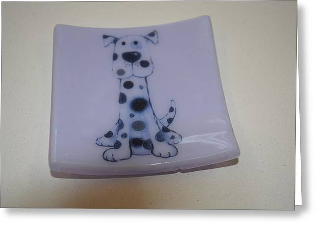 Neo Glass Art Greeting Cards - Cheeky Spotty Dog Dish Greeting Card by Rosalind Duffy