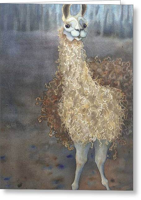Cartoony Greeting Cards - Cheeky the Llama Greeting Card by Anne Havard