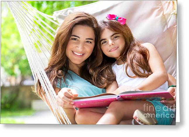 Person Greeting Cards - Cheerful mother with daughter Greeting Card by Anna Omelchenko