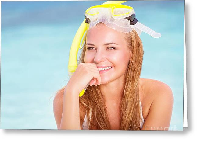Snorkel Greeting Cards - Cheerful young woman snorkeling Greeting Card by Anna Omelchenko