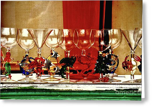 Art Blown Glass Photographs Photographs Photographs Greeting Cards - Cheers To All Greeting Card by Frances Hattier