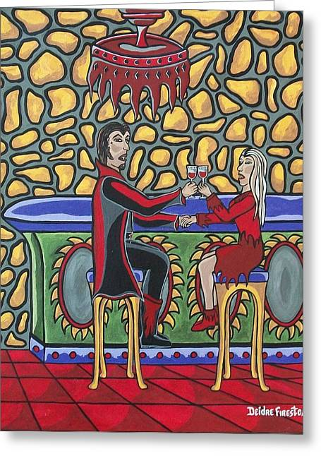 Cheers Up My Bloody Valentine Greeting Card by Deidre Firestone