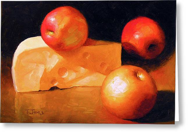 Old Masters Greeting Cards - Cheese and Apples Greeting Card by Timothy Jones
