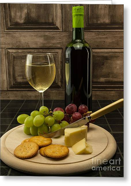 Red Wine Bottle Greeting Cards - Cheese And Fruit Selection With Wine Greeting Card by F Helm