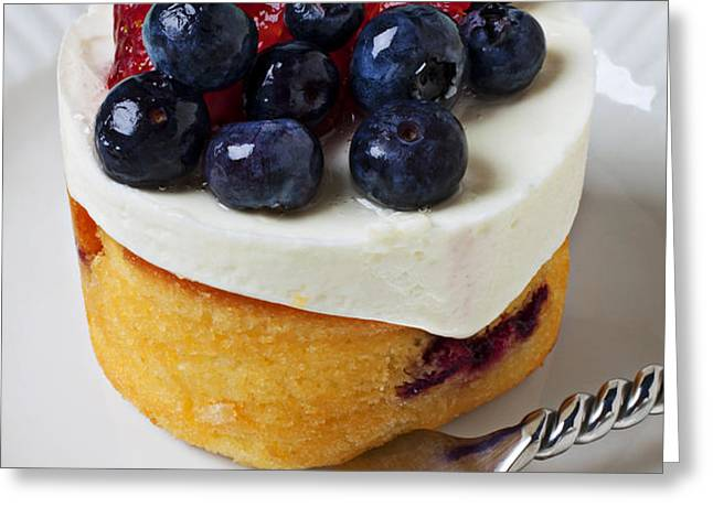 Cheese cream cake with fruit Greeting Card by Garry Gay