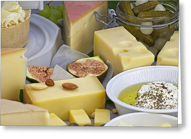 Olives Photographs Greeting Cards - Cheese plate Greeting Card by Joana Kruse