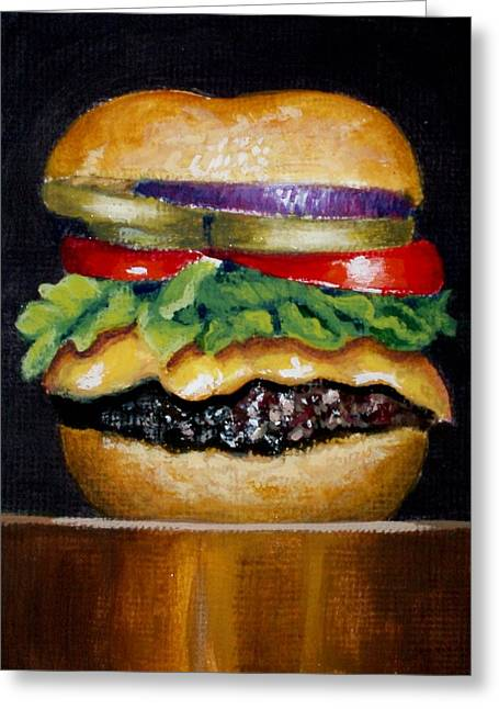 Cheeseburger With Everything Greeting Card by Karen Hetzer