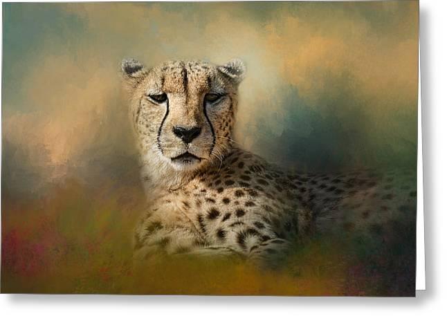 Cheetah Photographs Greeting Cards - Cheetah Enjoying A Summer Day Greeting Card by Jai Johnson