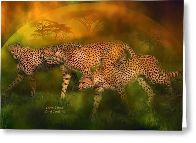 Wildcats Mixed Media Greeting Cards - Cheetah World Greeting Card by Carol Cavalaris