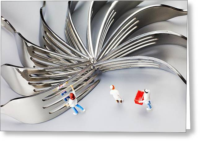 Creative People Greeting Cards - Chef and forks little people on food  Greeting Card by Paul Ge