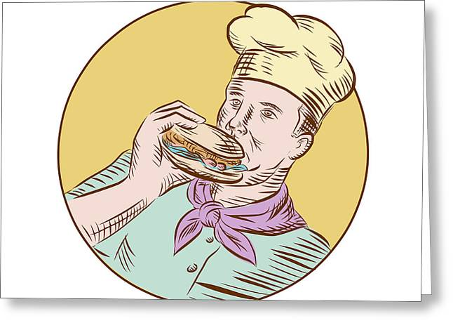 Chef Cook Eating Burger Etching  Greeting Card by Aloysius Patrimonio