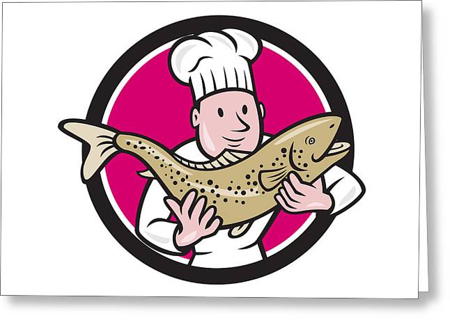 Chef Hat Greeting Cards - Chef Cook Holding Trout Fish Circle Cartoon Greeting Card by Aloysius Patrimonio