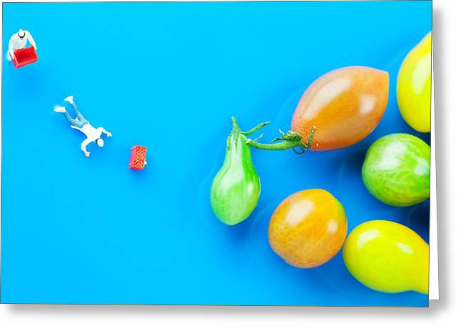 Creative People Greeting Cards - Chef Tumbled In Front Of Colorful Tomatoes II Little People On Food Greeting Card by Paul Ge