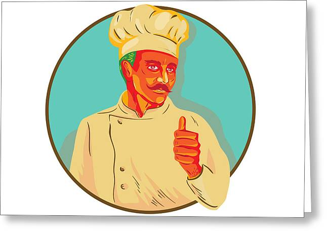 Chef With Mustache Thumbs Up Circle Wpa Greeting Card by Aloysius Patrimonio